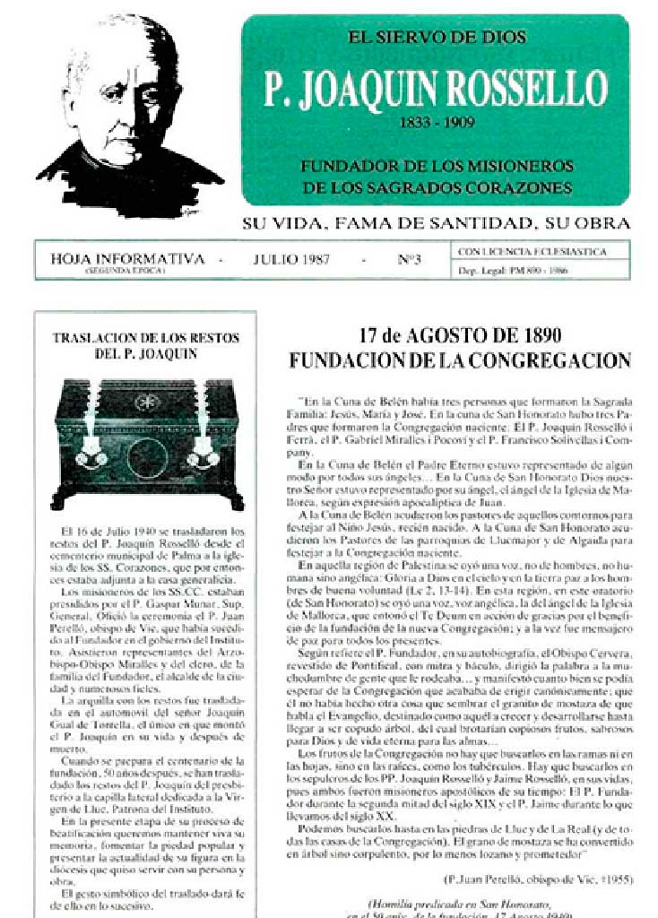 BOLETÍN_Causa de Canonización P. Fundador